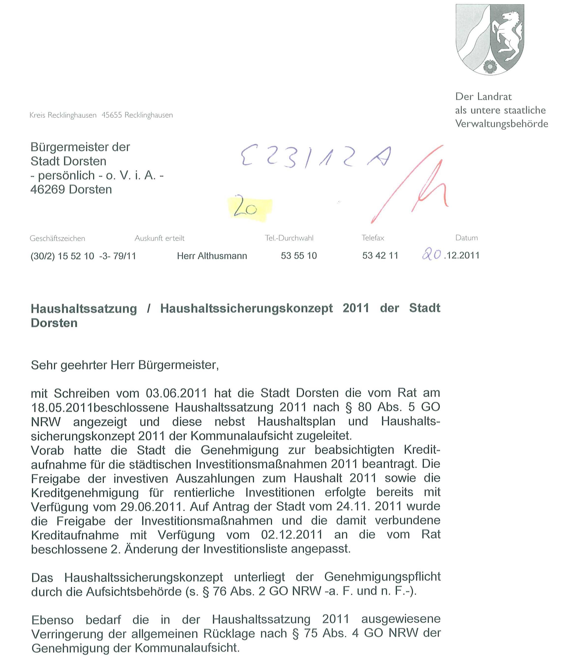 Wie der Landrat das Problem mit dem Haushalt 2011 der Stadt Dorsten ...